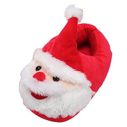 (Kuschelige Plüsch Hausschuhe Weihnachtsmann Weichen Rot Puschen Geschenk für Halloween (OneSize, Rot-2))