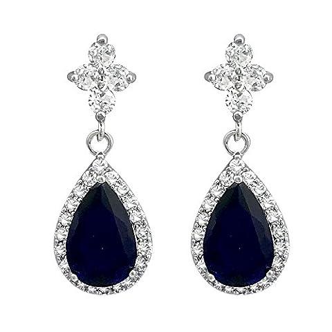 SELOVO Drop Earrings Blue Sapphire Color with 925 Sterling Silver Stem Cubic Zirconia Teardrop