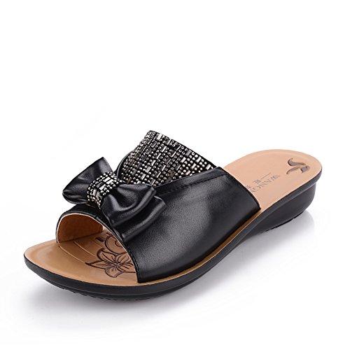 Scarpe di mamma/ vecchi sandali/Donne antiscivolo morbide pantofole alla fine di una parola-C Lunghezza piede=22.8CM(9Inch)