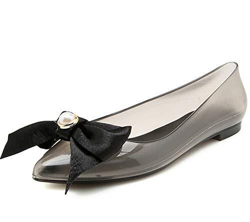 Fashion Woman Jelly Shoes Lady Flat rain Sandals Women Student Girls Summer travel Beach Sandal Pointed Toe Big Bowtie transparent Grey 9
