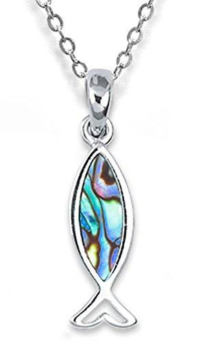 Muschelschmuck Schlüsselanhänger Ichthys Fisch, Metall silber mit Perlmutt Paua Muschel, Fischsymbol christliches Symbol