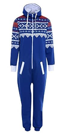 Royal Blue Adult L - Luzia New Womens Adult Mens Unisex Aztec Print Ladies Hoody Jumpsuit Onesie