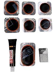 Gazechimp Kits 7pcs Rustines Assortis 1Tube Colle Patchs Outils de Réparation pour Pneu Vélo Cyclisme Accs