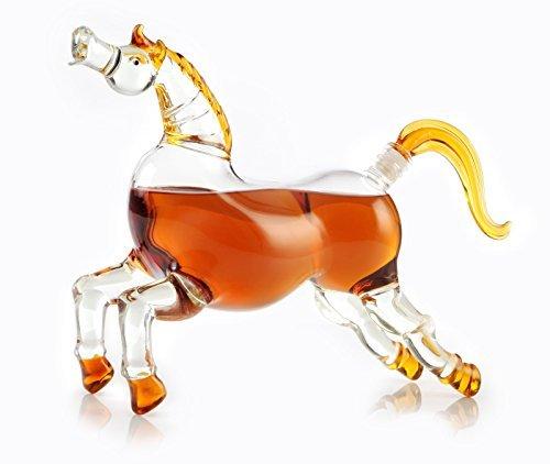 Pferd Bourbon (Whiskey) Dekanter für Scotch, Wodka, rum, Tequila oder jede andere Whisky 1000ml Dekanter mit bunten Glas Akzente