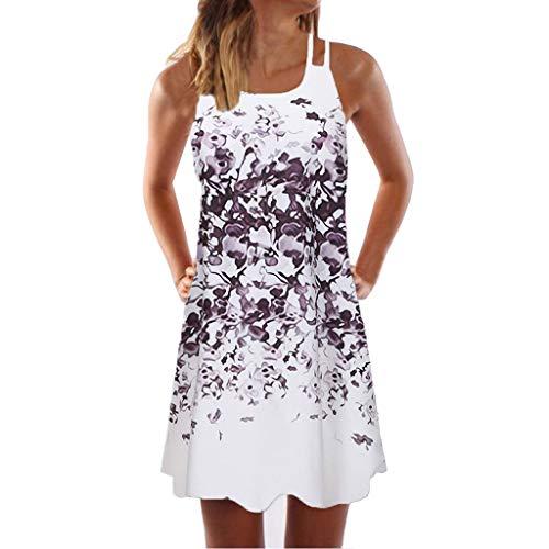 BaZhaHei Damen Kleider Sommer Elegante Frauen Lose Vintage Sleeveless 3D Blumendruck Bohe Casual Täglichen Party Strand Urlaub Tank Short Mini Kleid (XXL, 2-Lila)