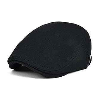DALUCI Men's Cotton Flat Ivy Gatsby Newsboy Driving Hat Cap (Black)