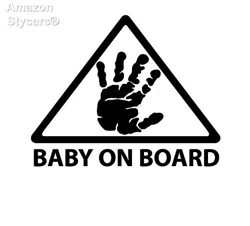 Stycars®16 * 13Cm Baby On Board Palm Print Warning Cartoon Car Stickers and Decals Motorcycle Stickers Black