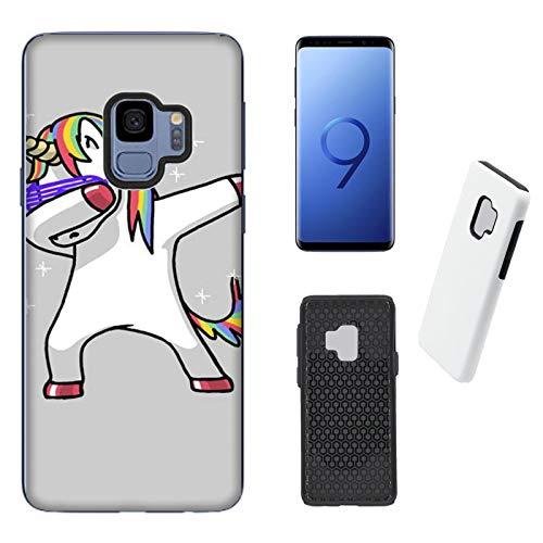Coque Galaxy S9 (2 in 1) Housse Samsung Galaxy S9 (2 in 1) Licornes drôles Licorne Fièvre du samedi soir / Coque Imprimer aussi sur les cotes / Case Anti-derapant Anti-derapant Anti-rayures Antichoc Protecteur Rigide