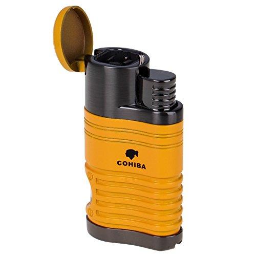 Resistente al viento Mechero Encendedor de gas encendedor cuatro linterna Jet azul llama hinchable puro recargables encendedor, amarillo