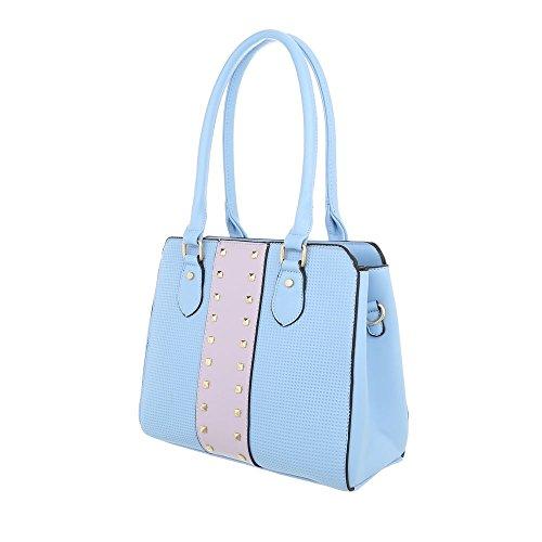 iTal-dEsiGn Damentasche Mittelgroße Schultertasche Handtasche Kunstleder TA-K679 Hellblau