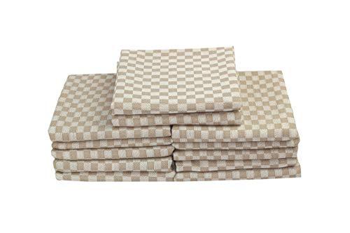 MyHoppi 12er-Set Küchentücher | Geschirrhandtücher aus 100% Baumwolle | Handtücher | Haushaltstücher | 65 X 65 cm (Braun/Creme - Kariert) - Braun Creme