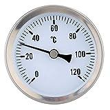 Pegcdu Heizungsrohr 120º Edelstahl Thermometer Bimetall-Rohrtemperatur wasserdichte 63mm Dial Templehre