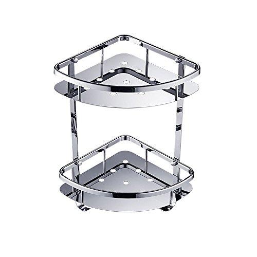 Pointth Acero inoxidable dos capas a prueba de agua Cuarto de baño Triángulo estante Tocador trípode ducha bastidores marco de la esquina (tamaño: L21 * W21 * H36cm)