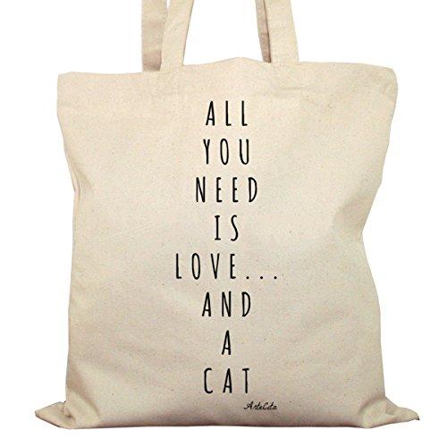 Tote Bag Imprimé Ecru - Toile en coton bio - All you need is love and a cat