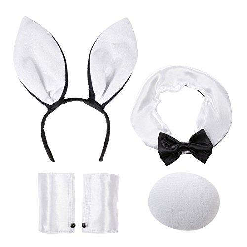 Und Schwanz Ohren Bunny (Hasenkostüm Sexy Hasen Kostüm 4 tlg. Hase Ohren Halsband Schwanz Manschetten Bunny Set Karnevalskostüme Tiere Sexy Häschen Verkleidung Playboy Kostümset)