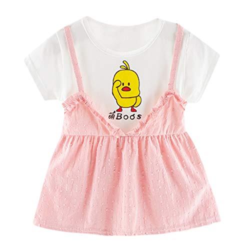YWLINK Kleinkind MäDchen Overall Kleid Kurze ÄRmel Karikatur Kleine Gelbe Ente Gedruckt Party Prinzessin Süß Kurze ÄRmel Sommer Kleidung Anziehen(Rosa,0-6 ()