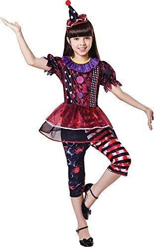 tüm Party Outfit Horror Freaky Clown Mädchen Kostüm - Multi, Large (Freaky Clown Kostüme)