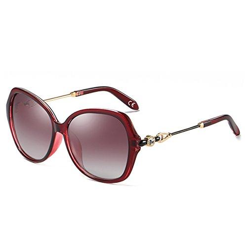 BLEVET Mode Groß Damen Sonnenbrille Polarisiert 100% UV-Schutz Brille [Diamant-Dekoration] BE005 (Red Frame Red Lens)
