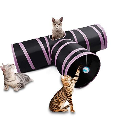 Dono Katzenspielzeug Katzentunnel, Katze Spielzeug Hundenspielzeug Spieltunnel Faltbarer 3-Wege-Spiel Tunnel für Kaninchen Hasen Katze Hunde und Kleintiere Haustier (3-Wege-Rosa)