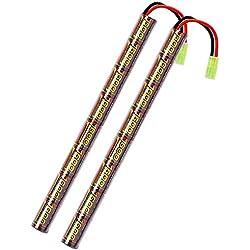 melasta 2pack 2 / 3A 9.6V Airsoft Batterie 1600mAh Stick Batterie NIMH avec Mini Connecteur Tamiya pour Pistolets Airsoft