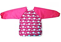 AnaBaby Premium Soft Long Sleeve Water Resistant Washable Baby Toddler Bib with Reversible Pocket, Perfect for Feeding and Messy Play (Pink Elephant)