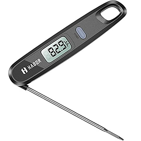 Habor Thermomètre de Cuisine Numérique Lecture Instantanée, Thermomètre de cuisson avec magnétique, Sonde Pliable Interne pour la cuisine, barbecue, grill, Candy, du lait