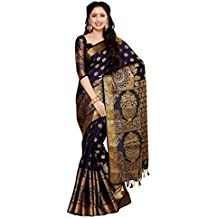 Mimosa Women's Art Silk Saree With Blouse Piece (4050-241-Sd-Nvy,Navy Blue,Free Size)