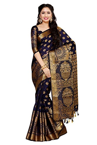 Mimosa Women\'s Art Silk Saree With Blouse Piece (4050-241-Sd-Nvy,Navy Blue,Free Size)