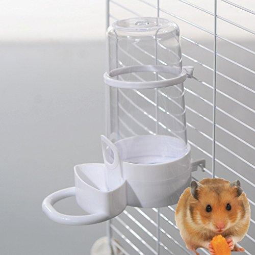 LA VIE Automatische Hamster Wasser trinken Springbrunnen Spender Vogelfutter Füttern mit Halter für Hamster Chinchilla Papageien Aras Graupapageien Sittiche Kleines Haustier Weiß