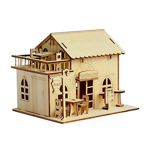 Baoblaze 1:24 3D Holz Puppenhaus Puppenstuben Restaurant Holzbausatz Bausatz Spielzeug