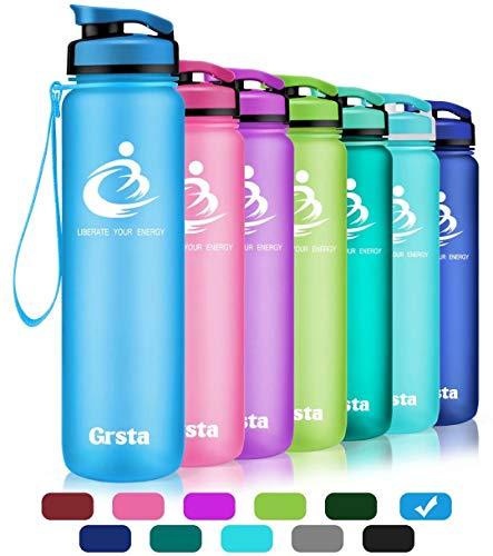 Grsta Bottiglia d'Acqua Sportiva - 28oz-800ml Borraccia Sportiva, a Prova di perdite, Riutilizzabile Senza BPA tritan plastica Detox Bottiglie Acqua per Palestra, Sport, Yoga, la Corsa (Blu)