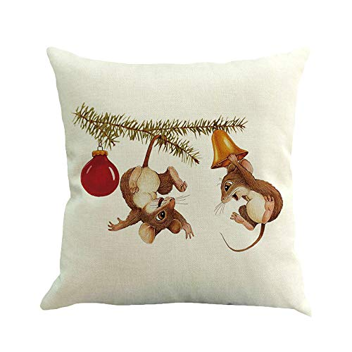 Dragon868 Kissen Hülle Weihnachtliche Baumwollwäsche Sofa-Auto zu Hause Taille Kissen Deckel Werfen 45x45 cm