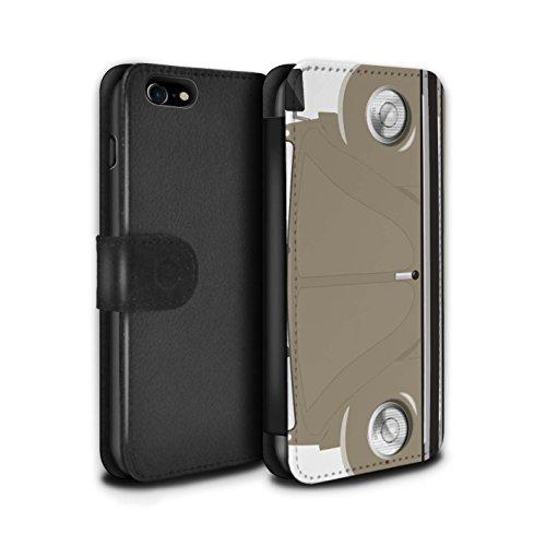 Stuff4 Coque/Etui/Housse Cuir PU Case/Cover pour Apple iPhone 8 / Rallye Jaune Design / Rétro Coccinelle Collection Sahara Beige