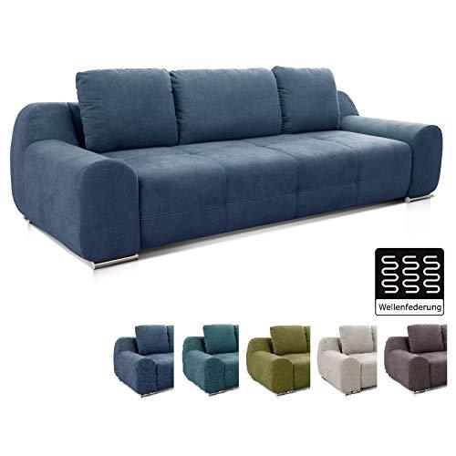 Cavadore Big Sofa Benderes / Moderne Polstercouch mit Steppung und Ziernaht / Inkl. 3 Kissen / Chromfüße / 266 x 70 x 102 (BxHxT) /  Blau