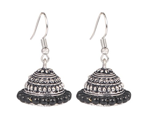 Valentine Gift by Sansar India Oxidized Silver Plated Handmade Beaded Jhumka Earrings for Girls and Women  available at amazon for Rs.149