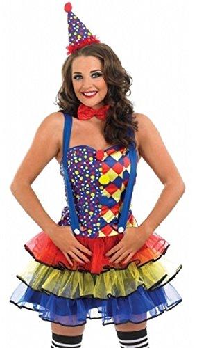 Fancy Me Damen Sexy Clown Zirkus Karneval Kostüm Kleid Outfit UK 8-30 Übergröße - Blau, - Sexy Übergröße Clown Kostüm