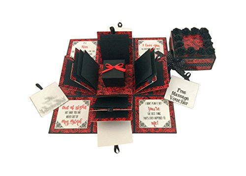 Crack of Dawn Crafts 3 Layered Romantic Explosion Box - Red Roses (No Photos Added)