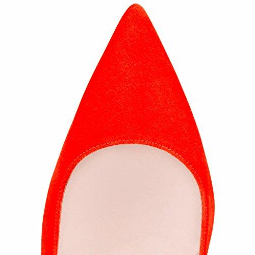 EDEFS Femmes Artisan Fashion Escarpins Classiques Pointus Des Couleurs Chaussures à talon haut de 100mm Bleu Clair Orange