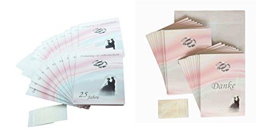 Deko-Schulze Silberhochzeit - Alles für 25 Jahre und die Silberne Hochzeit: Einladungskarten und Dankeskarten (40 Stück, Kombiset 1 Einladung - Danke)