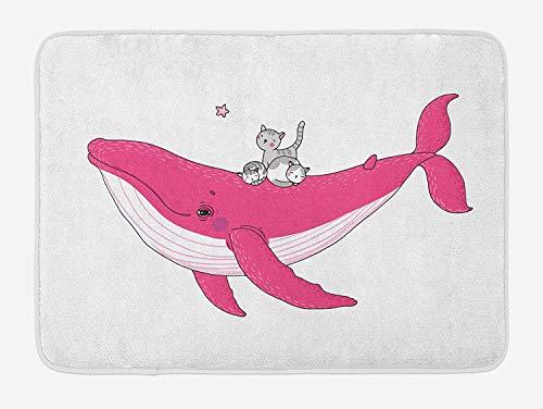 ZKHTO Whale Bath Mat, Three Cute Little Grey Kitten on Big Fish Aquatic Star Magic Animal Underwater Kids Theme, Plush Bathroom Decor Mat with Non Slip Backing, 23.6 W X 15.7 W Inches, Pink (Magic Fish Bowl)