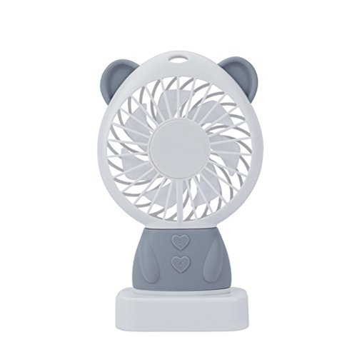 Kuke USB Ventilator mit LED Licht,Süß Bär Form,Mini Tragbar Fan für Büro, Zuhause und Heiße Sommeraußen Reisen für den Schreibtisch, Schlafzimmer, Camping Grau