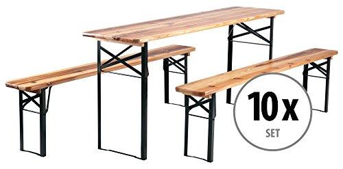 Stagecaptain 10er Set Hirschgarten Bierzeltgarnitur 177 cm Länge (10 x Tisch, 20 x Bank, Holz,...