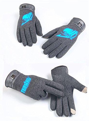 Bromeo Fairy Tail Anime Hiver Chaud Gants Gloves Mittens Lumineux Écran Tactile Gris 8