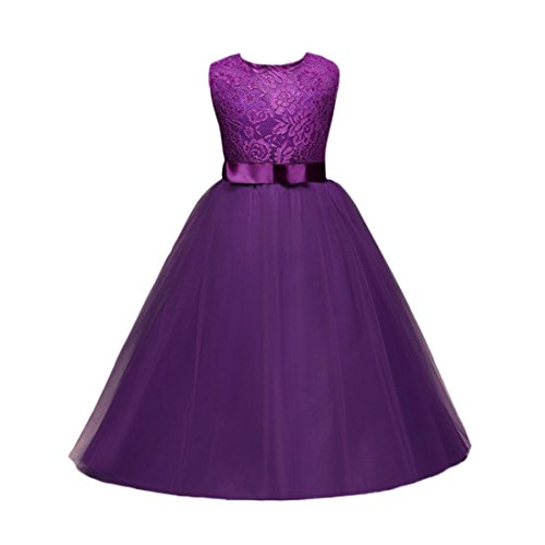 Uomogo® bambini ragazze abiti di sera abito senza maniche di pizzo fiore vestito 5-12 anni (età: 10 anni, viola)