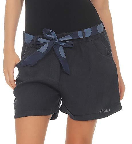 Malito Damen Shorts aus Leinen | lässige Kurze Hose | Bermuda für den Strand | Pants - Hotpants 6058 (dunkelblau, XL)