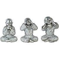 CAPRILO Set de 3 Figuras Budistas Decorativas de Resina Monjes Plata No Veo- Oigo-