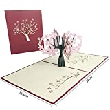JSGJHK Kirschblütenstereogrußkarte Danksagungskarte getrocknete Blumen 3d Papiergeschnittenes Geburtstagsgeschenkkarte Valentinstag, dreidimensionaler Kirschpow