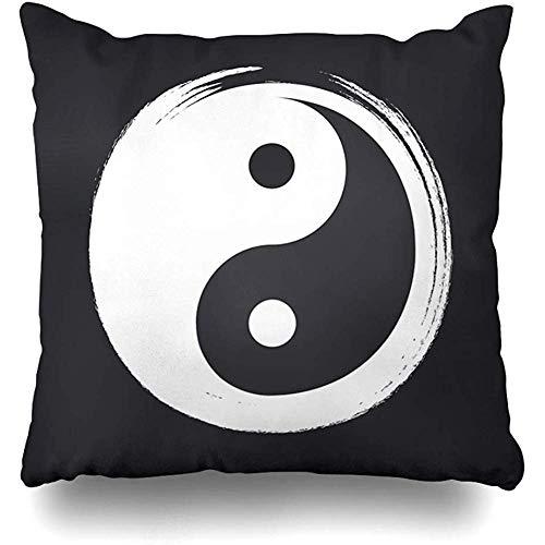Fundas de Almohada de Tiro Cepillo Yin Yang Zen Círculo Pizarra Símbolo Yoga Dualidad Resumen En Blanco...