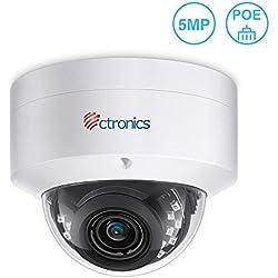 Ctronics PoE Überwachungskamera 5MP IP Kamera Dome Outdoor 110 ° Linse Fixieren H.265 Videokompression Bewegungserkennung Nachtsicht IP65 Wasserdicht Kompatibel mit Synology Kein WLAN CTIPO-320C