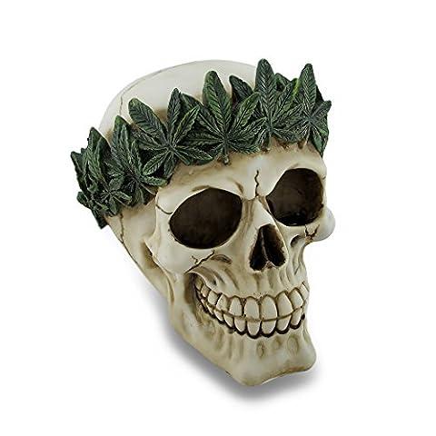 Pot Leaf Stirnband, Menschlicher Schädel Statue